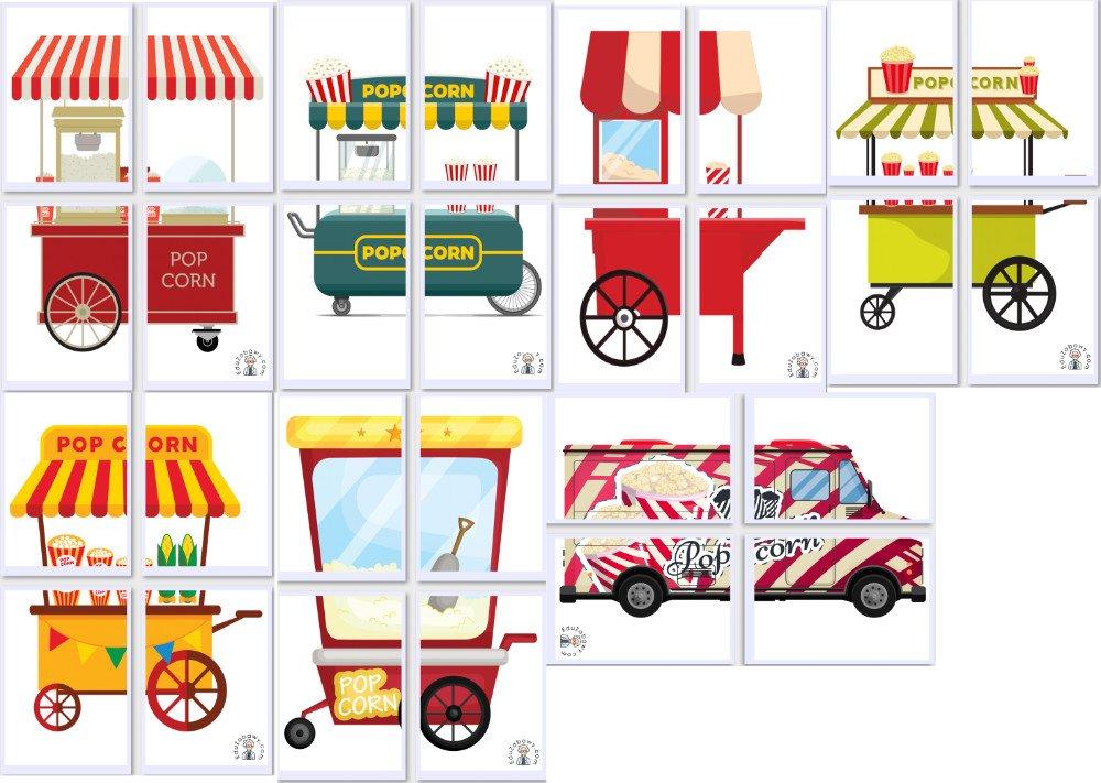 Dekoracje XXL: Maszyna do robienia popcornu (7 szablonów) Dekoracje Dzień Popcornu