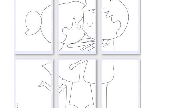 Kolorowanki XXL: Zakochana para (10 szablonów)