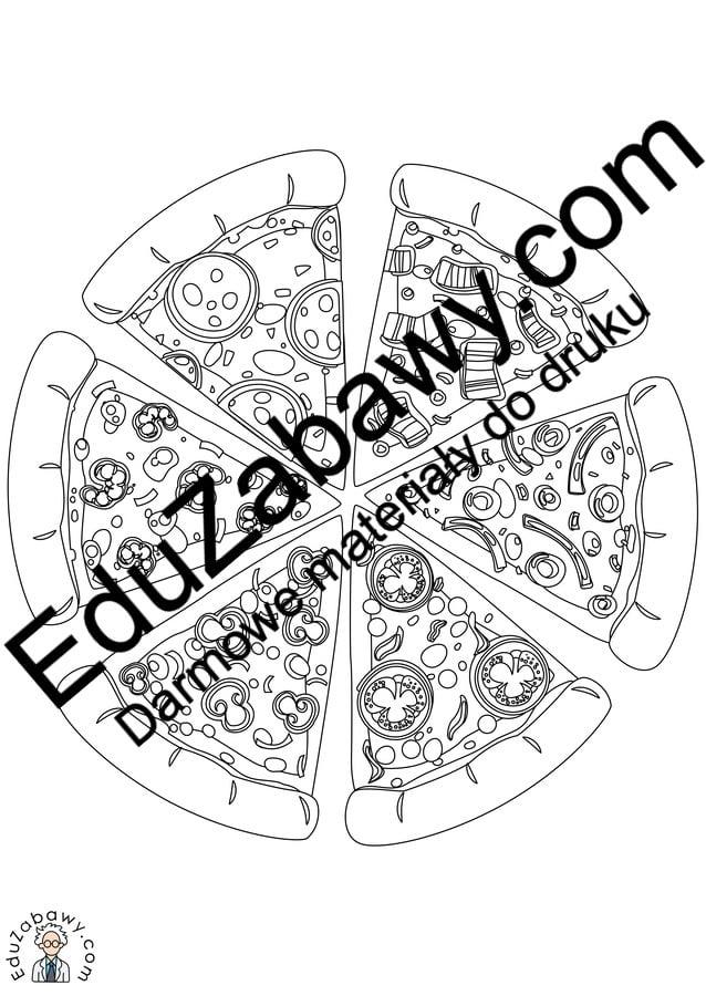 Kolorowanki: Pizza (10 szablonów) Dzień Pizzy Kolorowanki Kolorowanki (Dzień Pizzy)