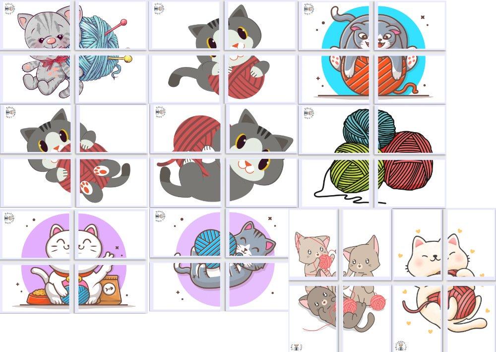 Dekoracje XXL: Kłębek wełny (10 szablonów) Dekoracje Dekoracje (Dzień Kota) Światowy Dzień Kota
