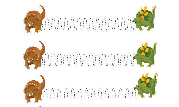 Dzień Dinozaura: Szlaczki (10 kart pracy)