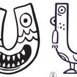 Litera U: kolorowanki do wydruku