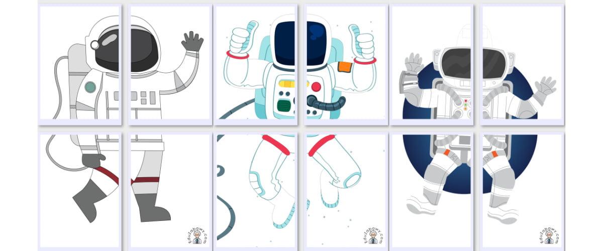 Dekoracje XXL: Astronauta / kosmonauta (10 szablonów)