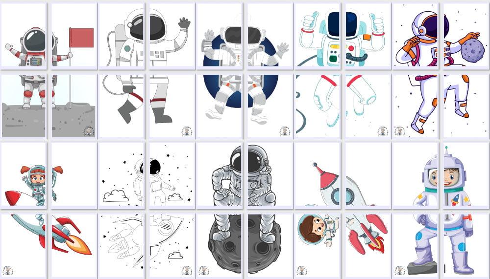 Dekoracje XXL: Astronauta / kosmonauta (10 szablonów) Dekoracje Dekoracje (Dzień Astronomii) Dzień Astronomii