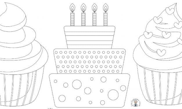 Kolorowanki: Ciasta i muffinki (10 szablonów)