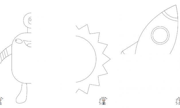 Kosmos: Dokończ obrazek (10 kart pracy)