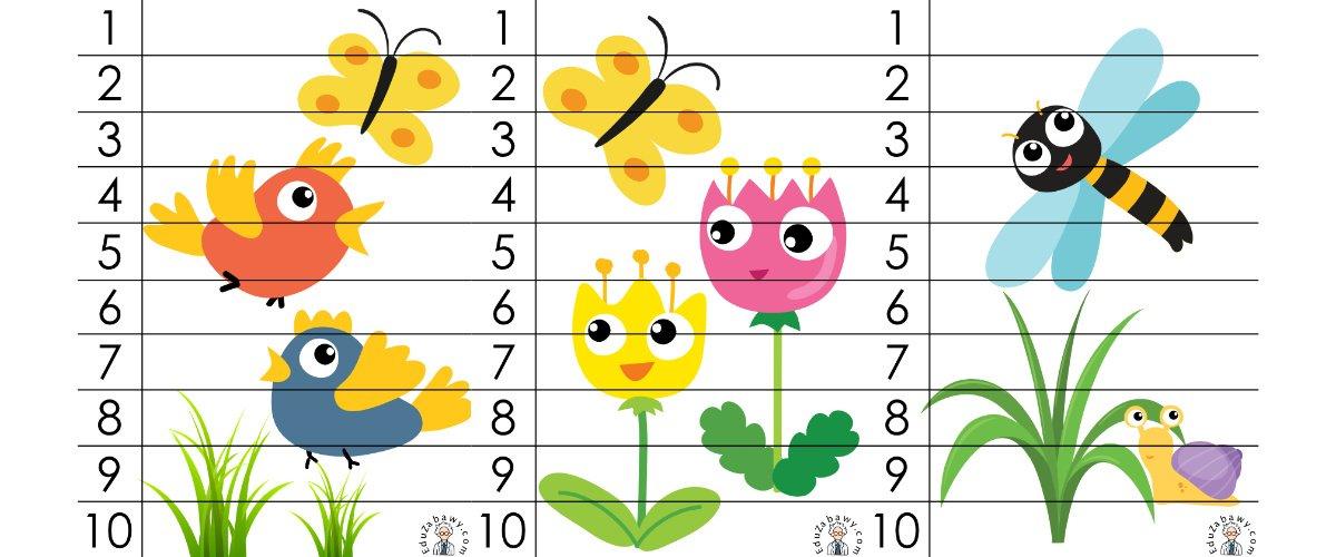 Wiosna: Puzzle 10 elementów (10 kart pracy)