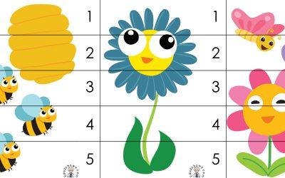 Wiosna: Puzzle 5 elementów (10 kart pracy)