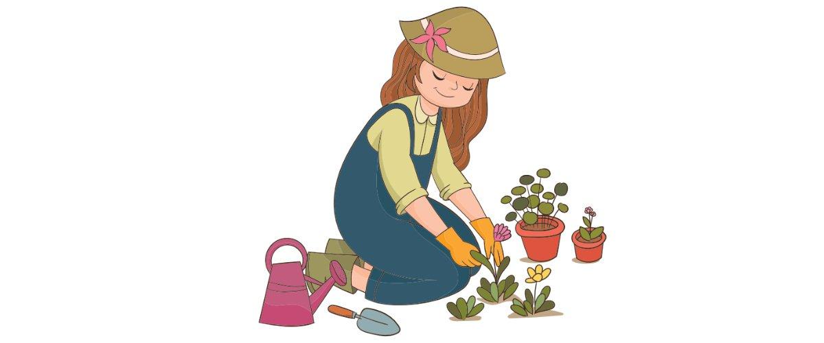 Dekoracje: prace w ogrodzie (10 szablonów)