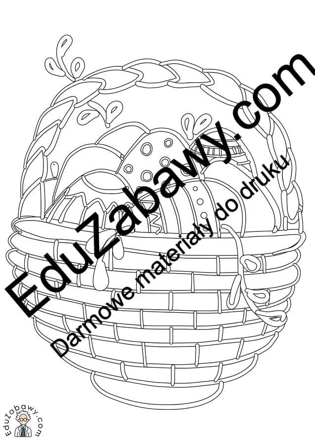 Kolorowanki: Koszyk wielkanocny (8 szablonów) Kolorowanki Kolorowanki (Wielkanoc) Okolicznościowe (Kolorowanki) Wielkanoc