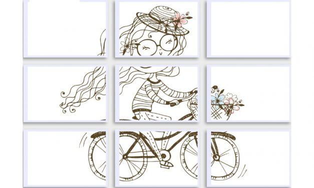 Kolorowanki XXL: Pani Wiosna na rowerze (8 szablonów)