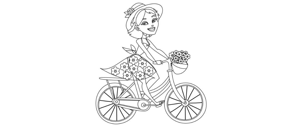 Kolorowanki: Pani Wiosna na rowerze (8 szablonów)